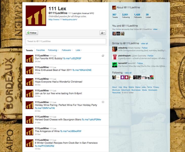 111 Lex Wine Twitter Page